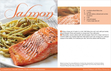 Seared Salmon with Pesto Fettuccine